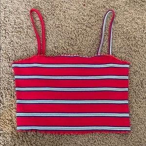 Striped straight neck tank top